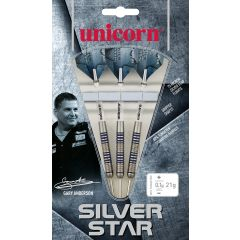 Unicorn Gary Anderson 80% Tungsten Silver Star Steel Tip Dart Set